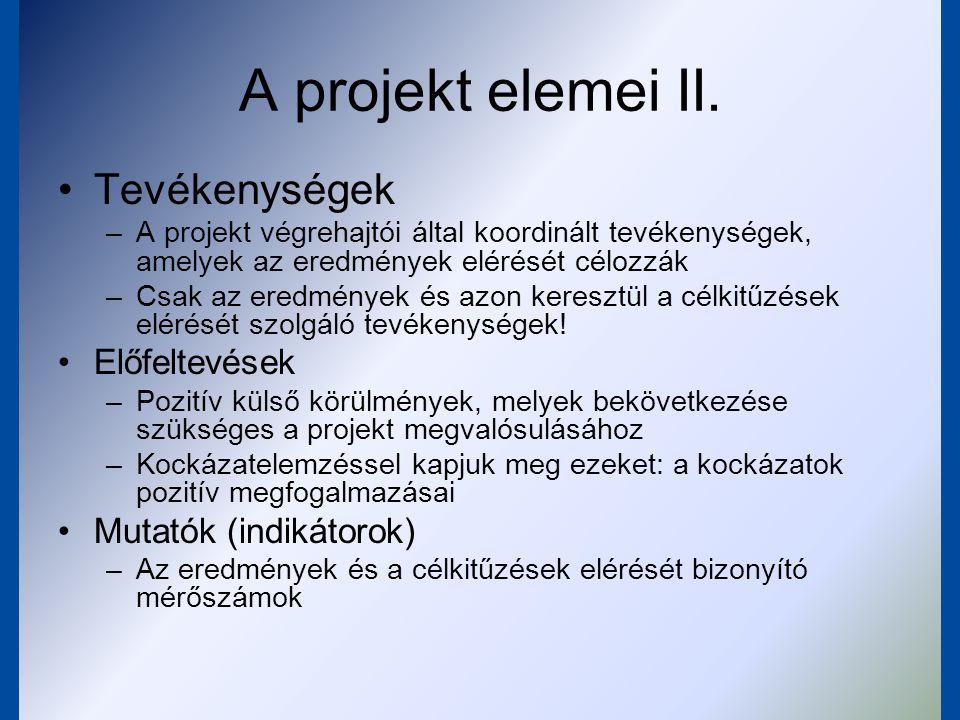 A projekt elemei II. Tevékenységek Előfeltevések Mutatók (indikátorok)