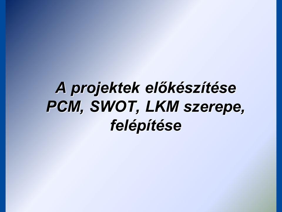 A projektek előkészítése PCM, SWOT, LKM szerepe, felépítése