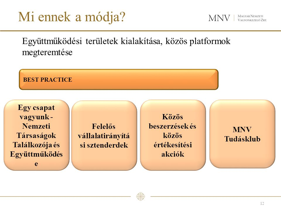 Mi ennek a módja Együttműködési területek kialakítása, közös platformok megteremtése. BEST PRACTICE.