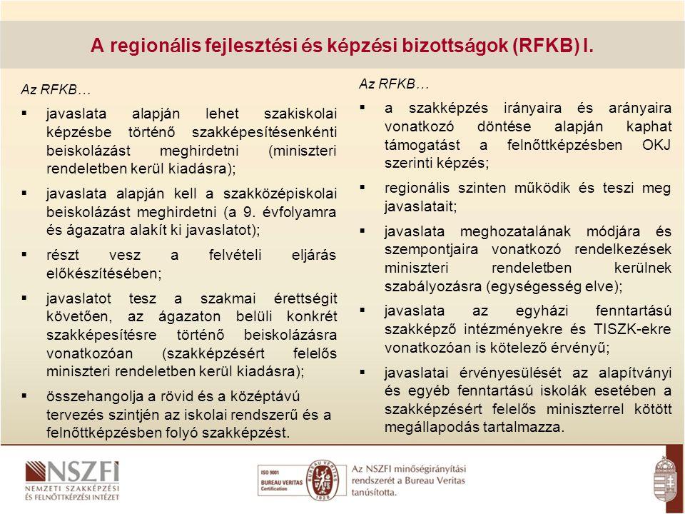 A regionális fejlesztési és képzési bizottságok (RFKB) I.
