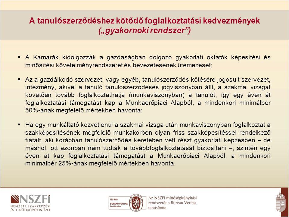 """A tanulószerződéshez kötődő foglalkoztatási kedvezmények (""""gyakornoki rendszer )"""