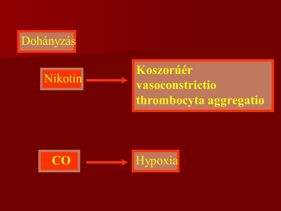 Koszorúér vasoconstrictio thrombocyta aggregatio Nikotin
