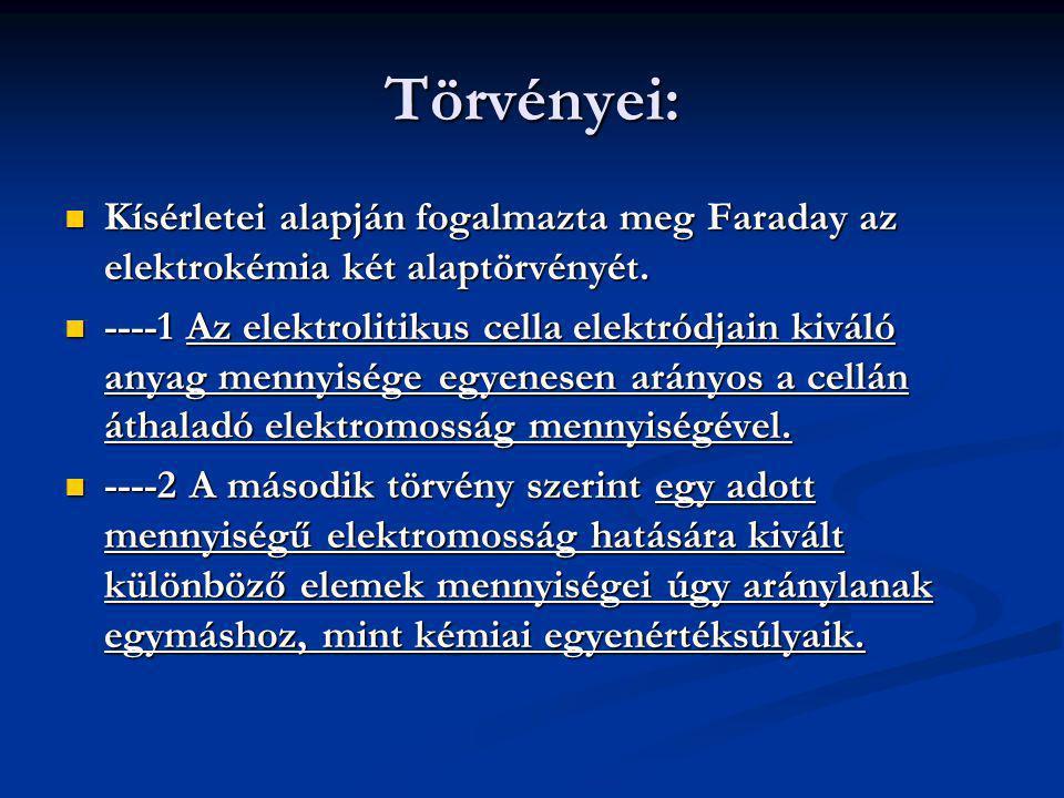 Törvényei: Kísérletei alapján fogalmazta meg Faraday az elektrokémia két alaptörvényét.