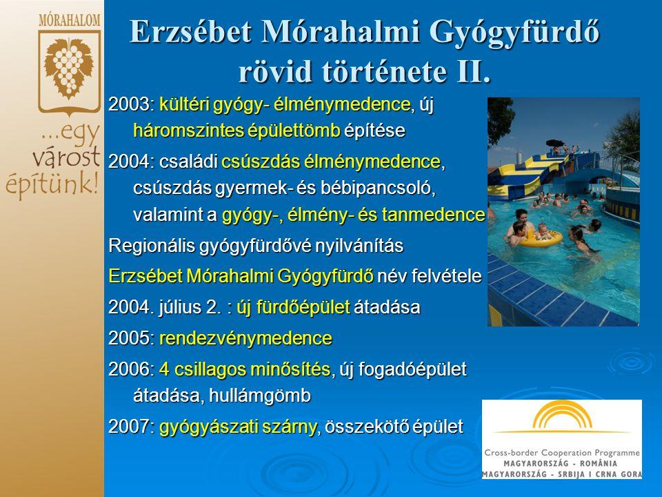 Erzsébet Mórahalmi Gyógyfürdő rövid története II.
