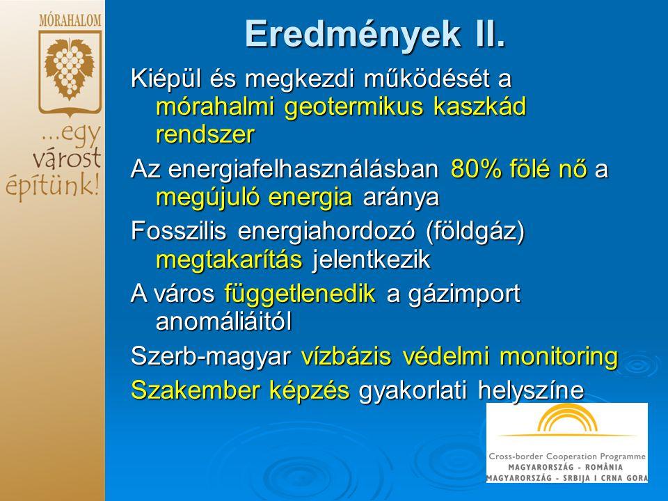 Eredmények II. Kiépül és megkezdi működését a mórahalmi geotermikus kaszkád rendszer.