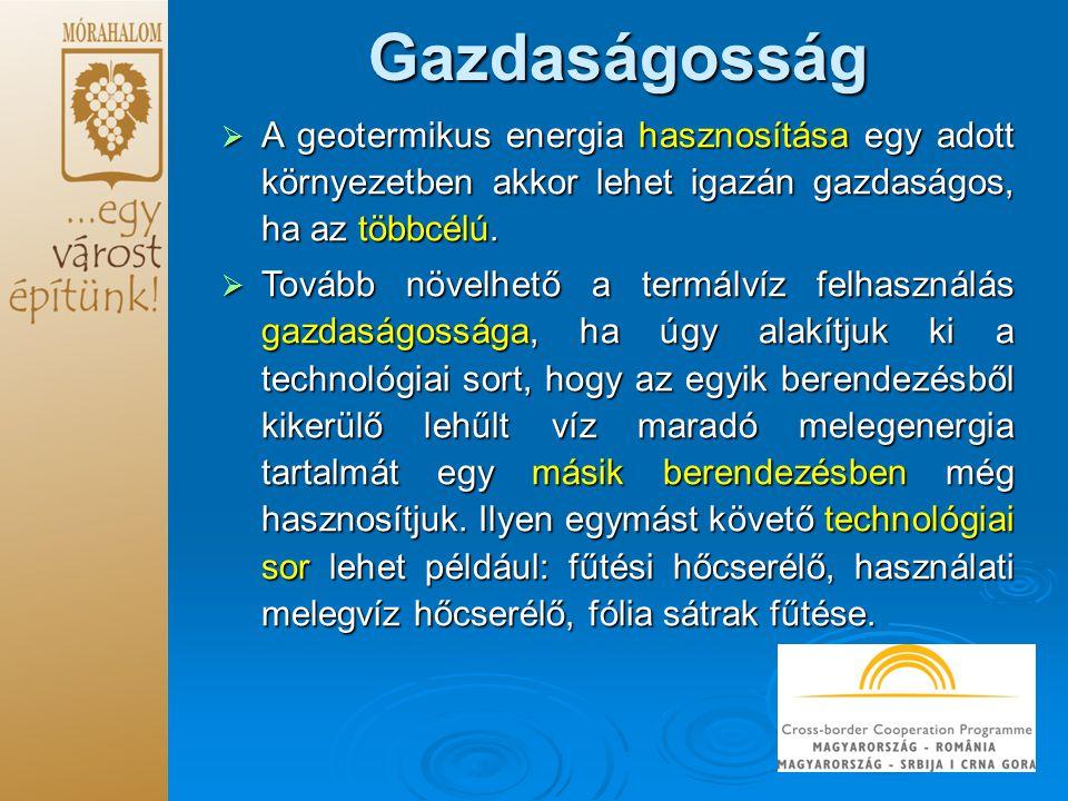 Gazdaságosság A geotermikus energia hasznosítása egy adott környezetben akkor lehet igazán gazdaságos, ha az többcélú.