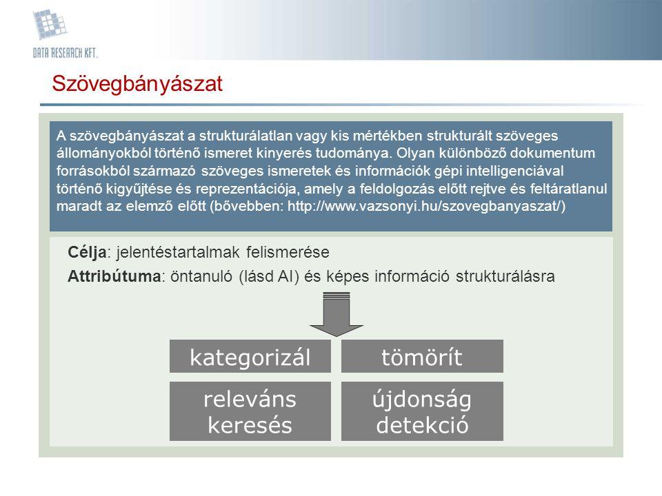 Szövegbányászat kategorizál tömörít releváns keresés újdonság detekció