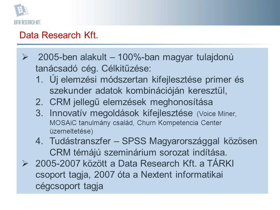 Data Research Kft. 2005-ben alakult – 100%-ban magyar tulajdonú tanácsadó cég. Célkitűzése: