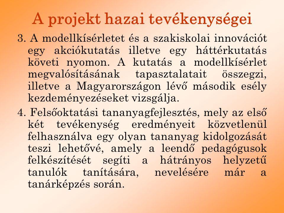 A projekt hazai tevékenységei