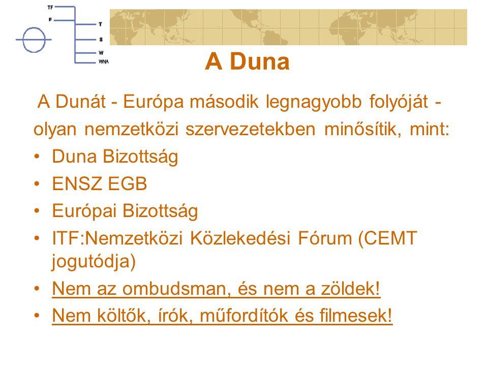 A Duna olyan nemzetközi szervezetekben minősítik, mint: Duna Bizottság