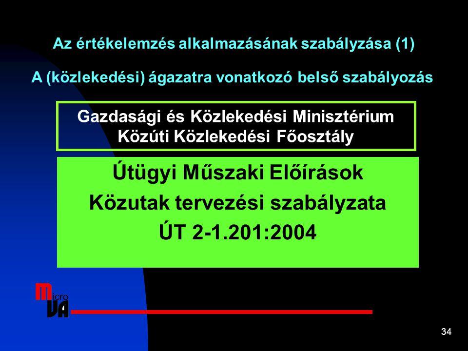 Útügyi Műszaki Előírások Közutak tervezési szabályzata ÚT 2-1.201:2004