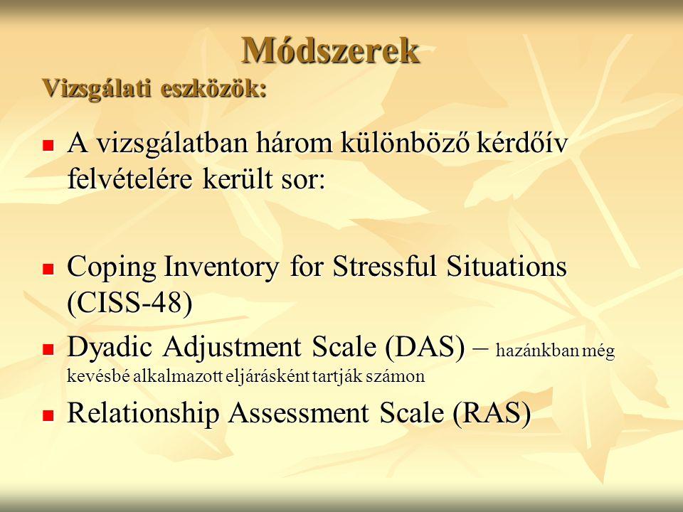 Módszerek Vizsgálati eszközök: