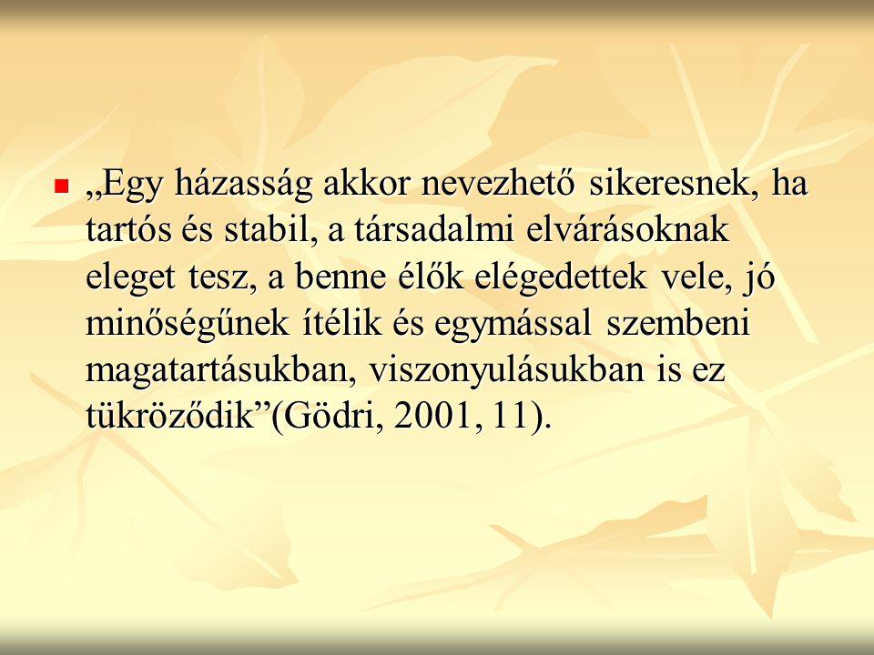 """""""Egy házasság akkor nevezhető sikeresnek, ha tartós és stabil, a társadalmi elvárásoknak eleget tesz, a benne élők elégedettek vele, jó minőségűnek ítélik és egymással szembeni magatartásukban, viszonyulásukban is ez tükröződik (Gödri, 2001, 11)."""