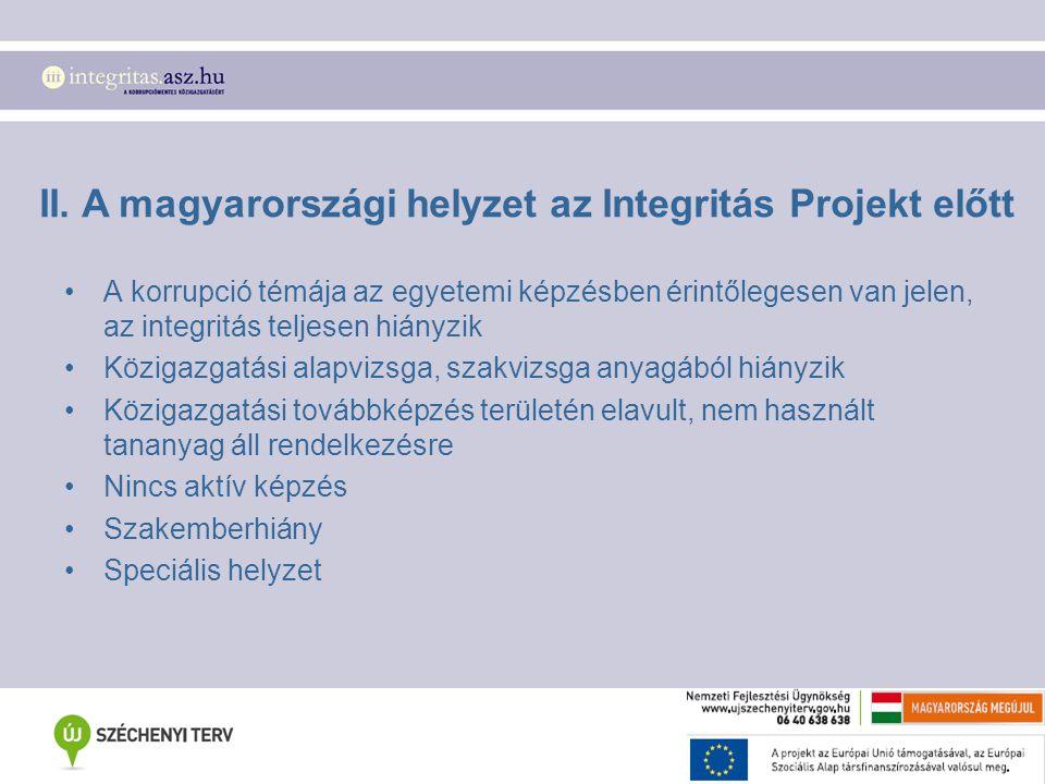 II. A magyarországi helyzet az Integritás Projekt előtt