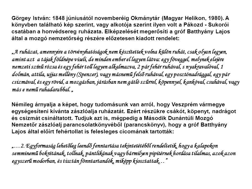 Görgey István: 1848 júniusától novemberéig Okmánytár (Magyar Helikon, 1980). A könyvben található kép szerint, vagy alkotója szerint ilyen volt a Pákozd - Sukorói csatában a honvédsereg ruházata. Elképzelését megerősíti a gróf Batthyány Lajos által a mozgó nemzetőrség részére előzetesen kiadott rendelet: