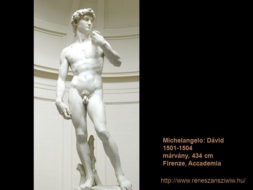 Michelangelo: Dávid 1501-1504 márvány, 434 cm Firenze, Accademia http://www.reneszansziwiw.hu/