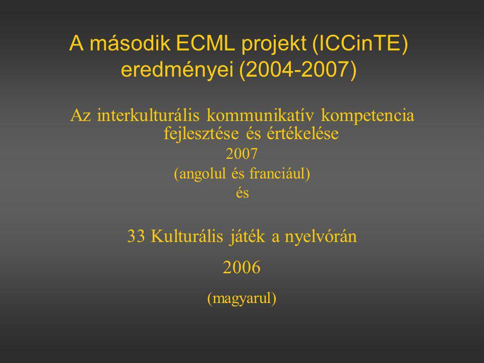 A második ECML projekt (ICCinTE) eredményei (2004-2007)