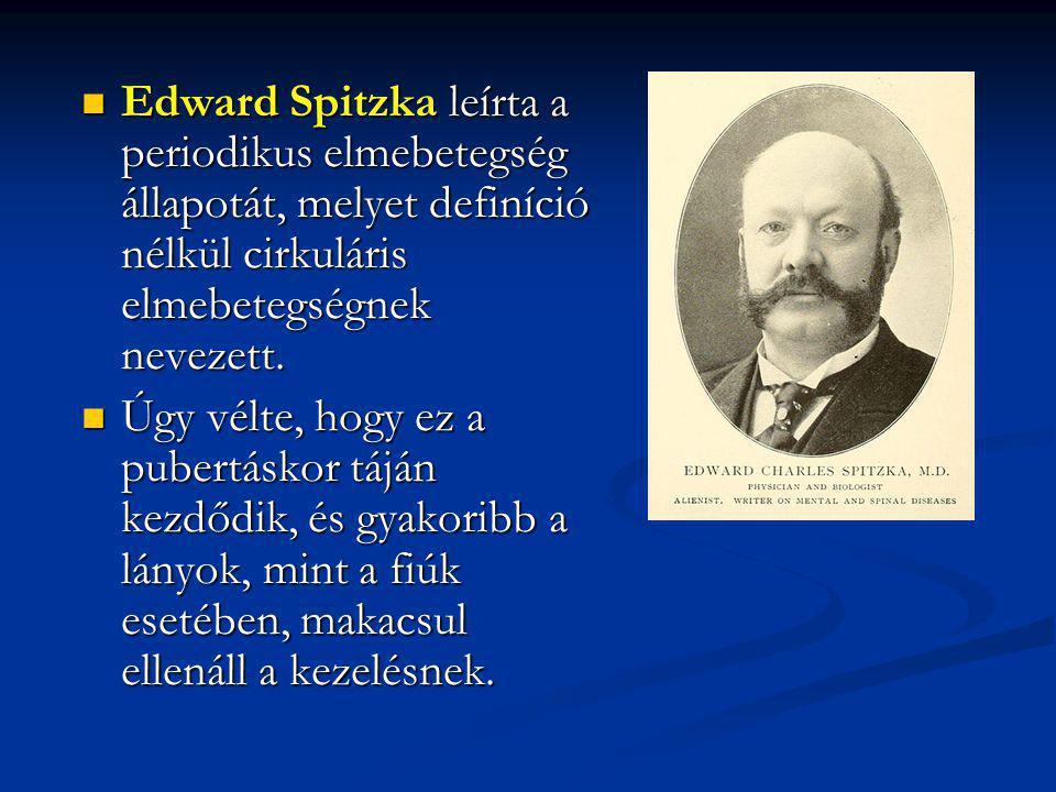Edward Spitzka leírta a periodikus elmebetegség állapotát, melyet definíció nélkül cirkuláris elmebetegségnek nevezett.