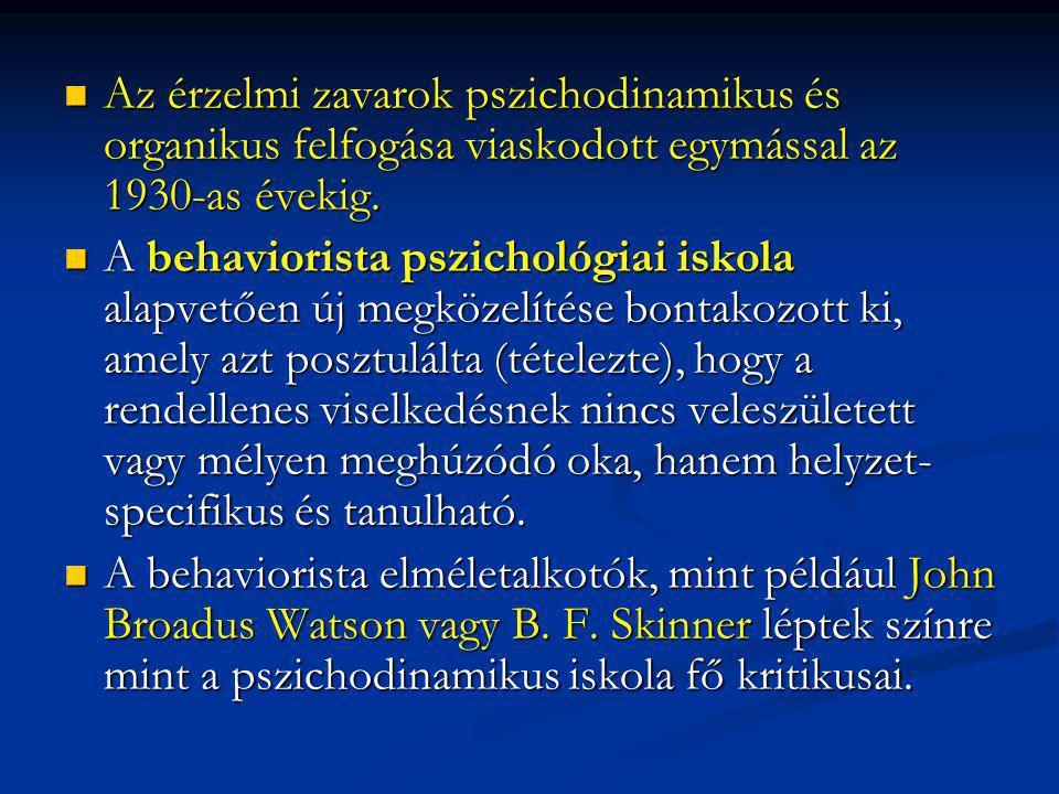 Az érzelmi zavarok pszichodinamikus és organikus felfogása viaskodott egymással az 1930-as évekig.