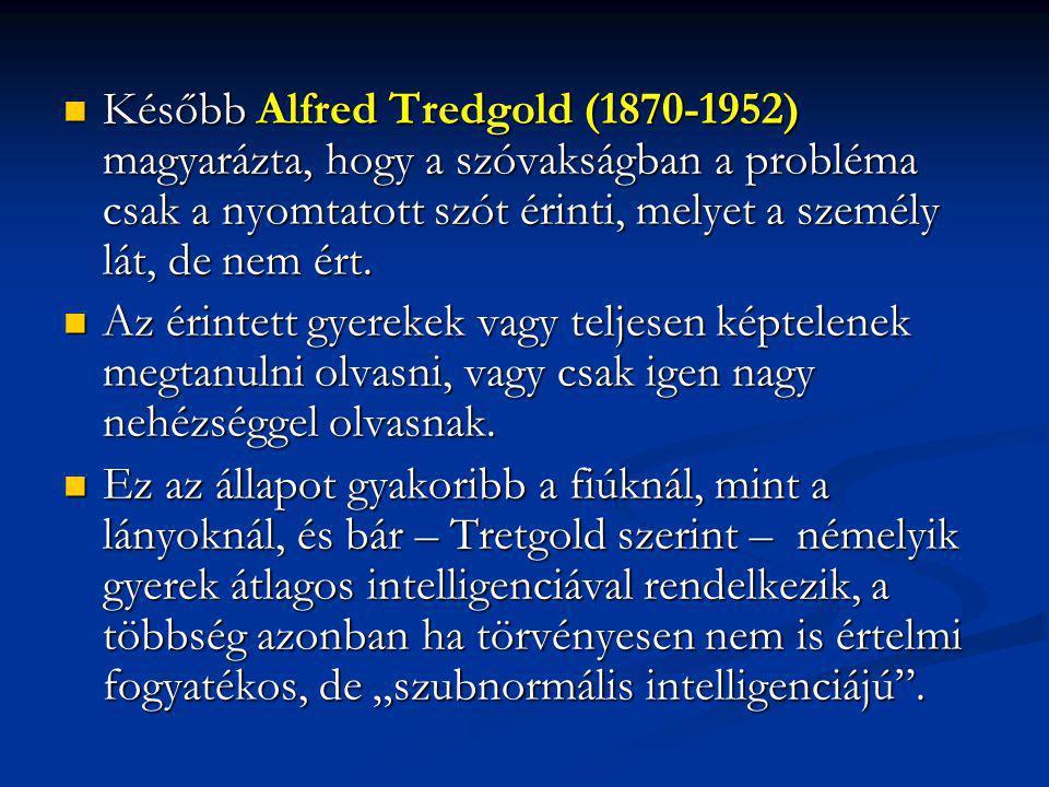 Később Alfred Tredgold (1870-1952) magyarázta, hogy a szóvakságban a probléma csak a nyomtatott szót érinti, melyet a személy lát, de nem ért.