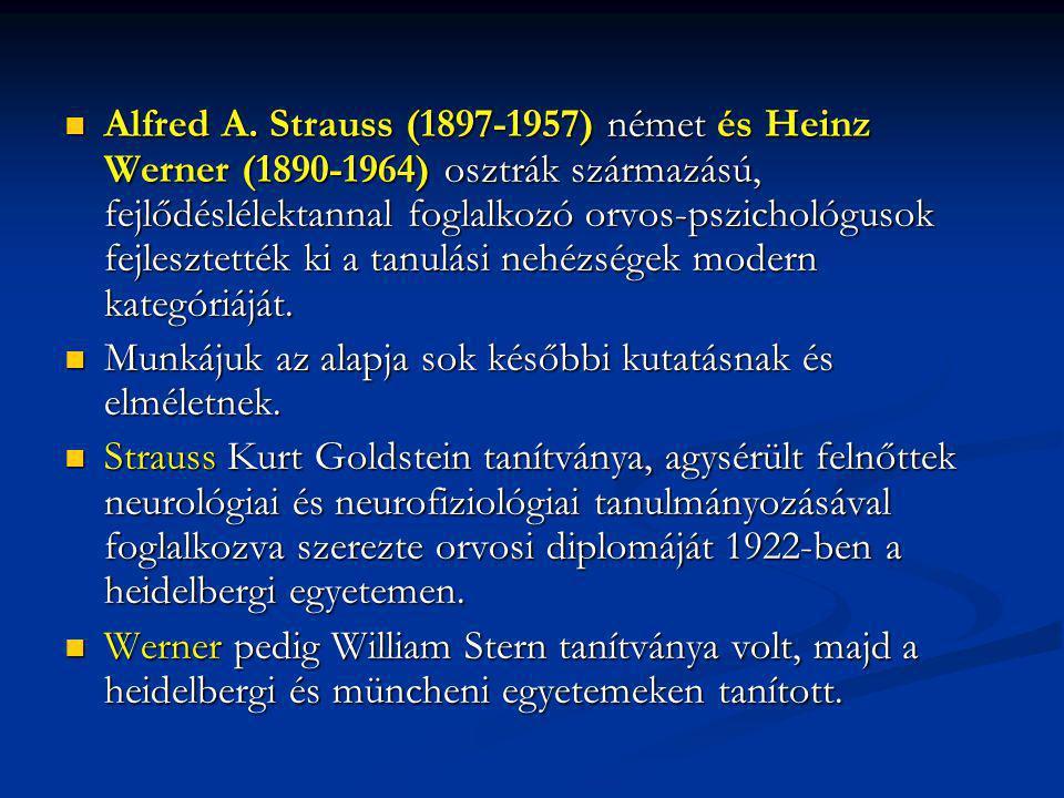 Alfred A. Strauss (1897-1957) német és Heinz Werner (1890-1964) osztrák származású, fejlődéslélektannal foglalkozó orvos-pszichológusok fejlesztették ki a tanulási nehézségek modern kategóriáját.