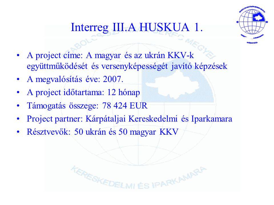 Interreg III.A HUSKUA 1. A project címe: A magyar és az ukrán KKV-k együttműködését és versenyképességét javító képzések.