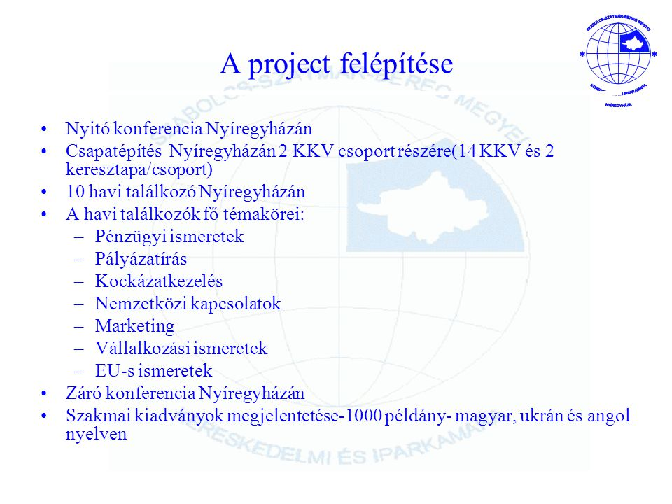 A project felépítése Nyitó konferencia Nyíregyházán