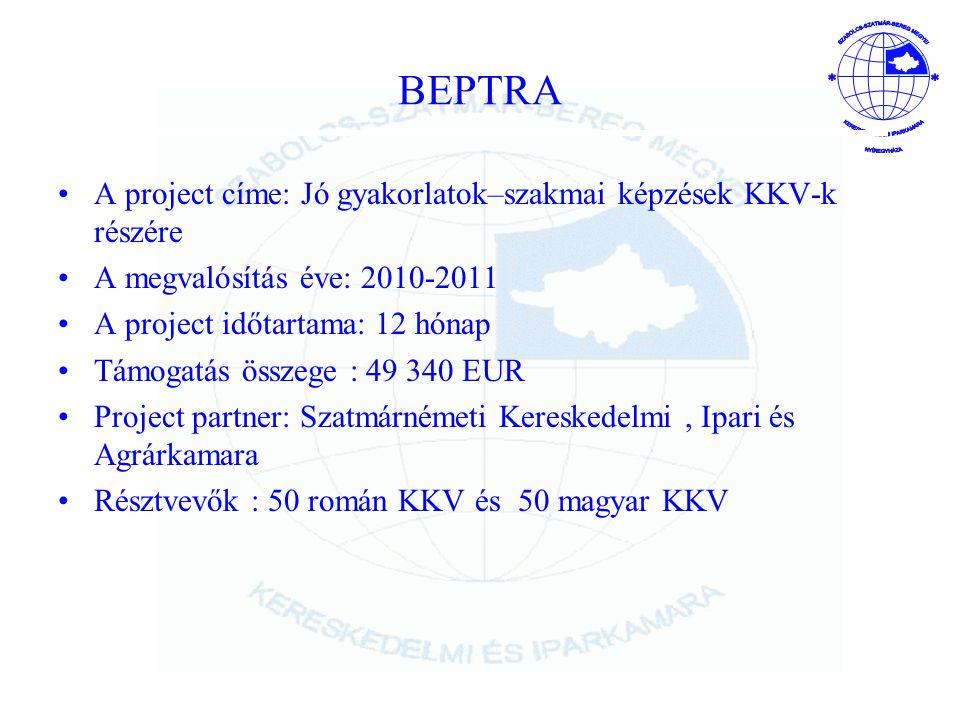 BEPTRA A project címe: Jó gyakorlatok–szakmai képzések KKV-k részére