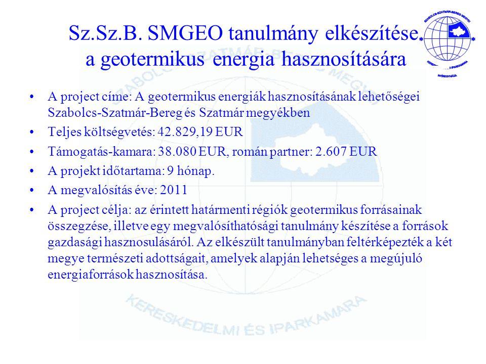 Sz.Sz.B. SMGEO tanulmány elkészítése a geotermikus energia hasznosítására