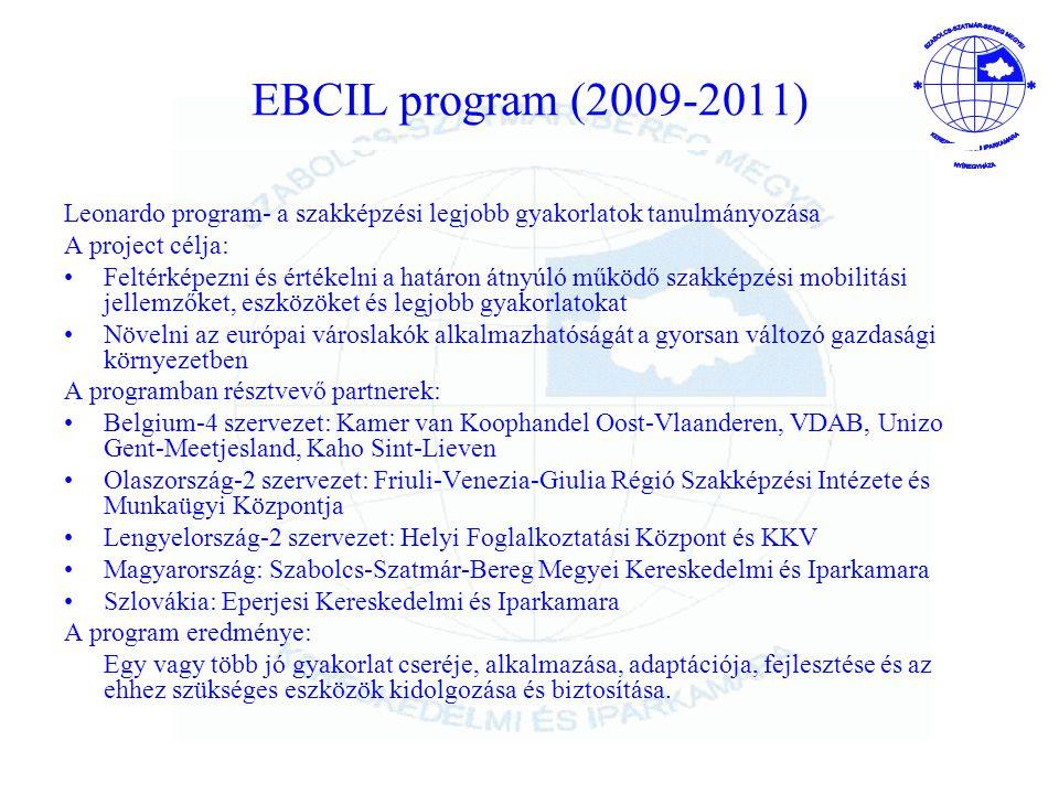 EBCIL program (2009-2011) Leonardo program- a szakképzési legjobb gyakorlatok tanulmányozása. A project célja: