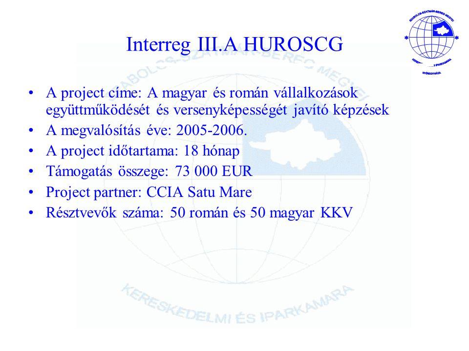 Interreg III.A HUROSCG A project címe: A magyar és román vállalkozások együttműködését és versenyképességét javító képzések.