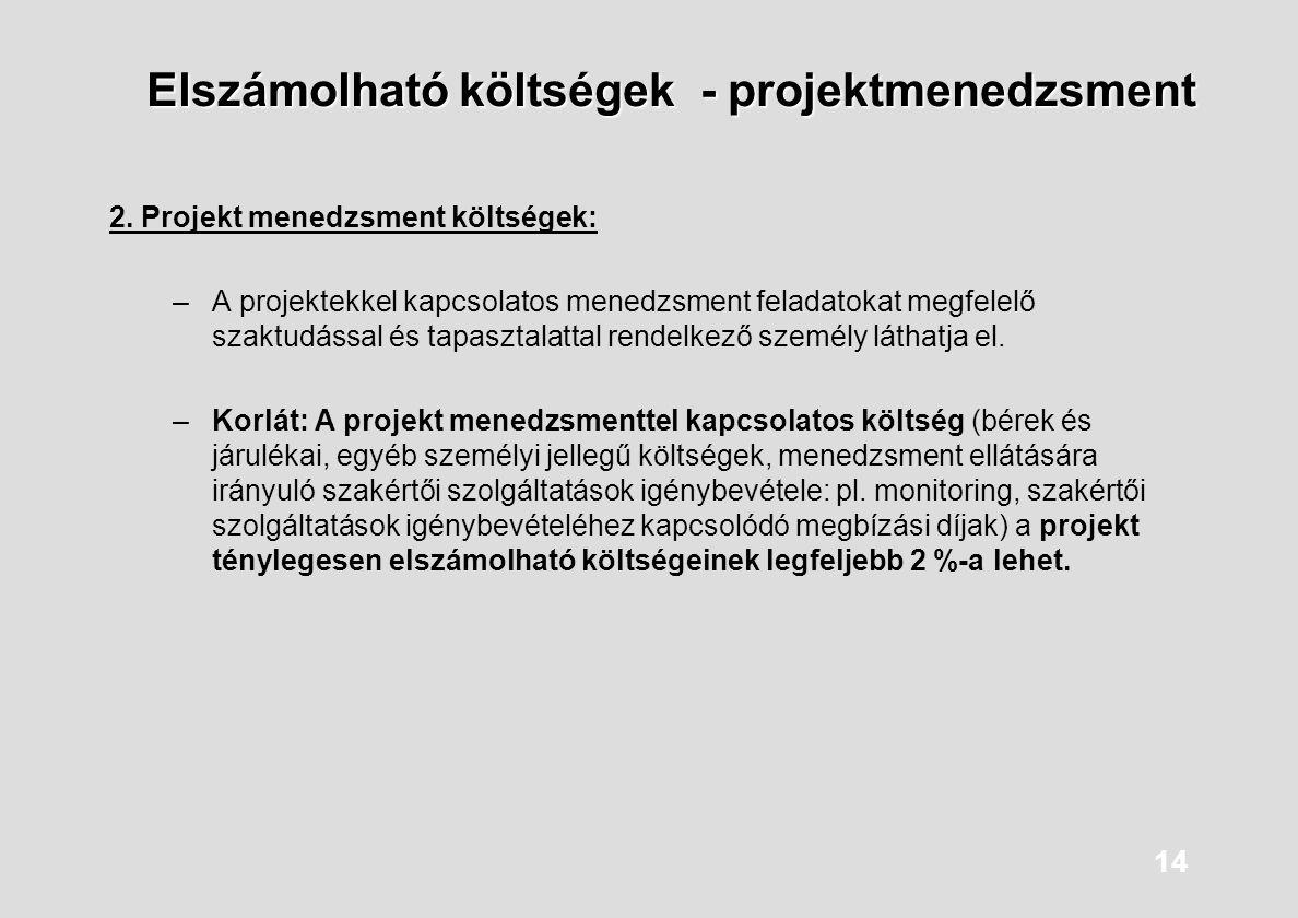 Elszámolható költségek - projektmenedzsment