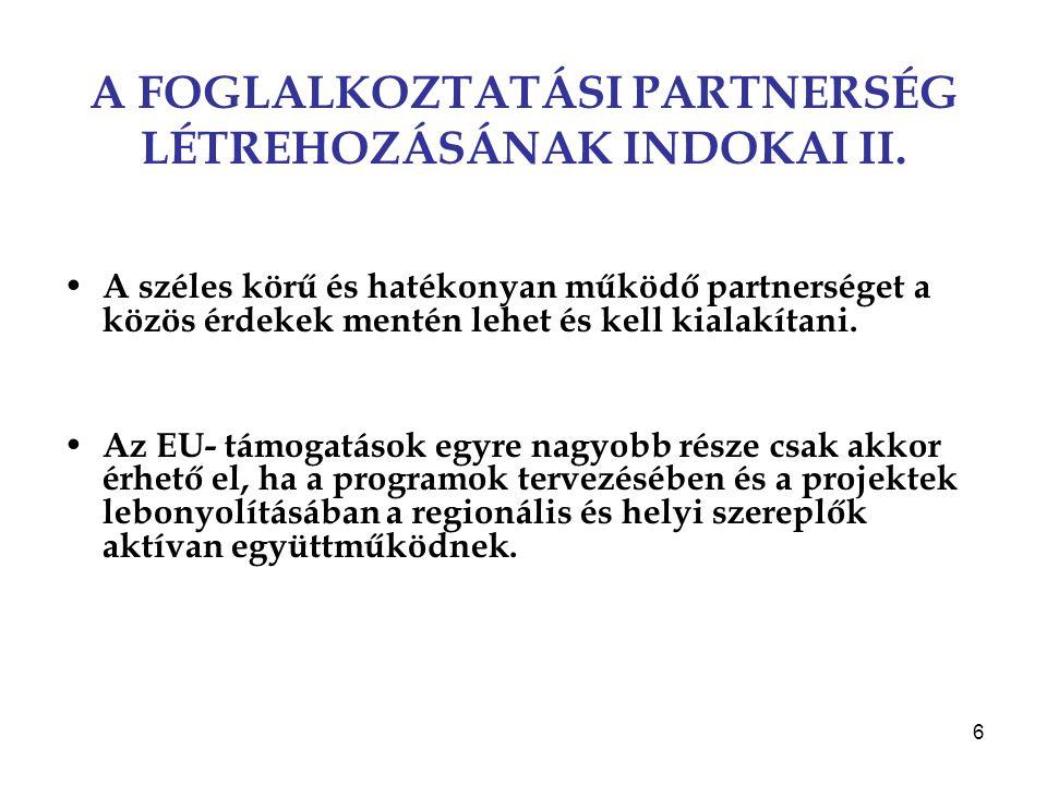 A FOGLALKOZTATÁSI PARTNERSÉG LÉTREHOZÁSÁNAK INDOKAI II.