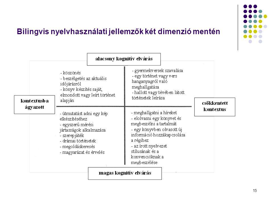 Bilingvis nyelvhasználati jellemzők két dimenzió mentén