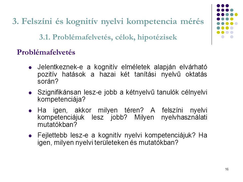 3. Felszíni és kognitív nyelvi kompetencia mérés