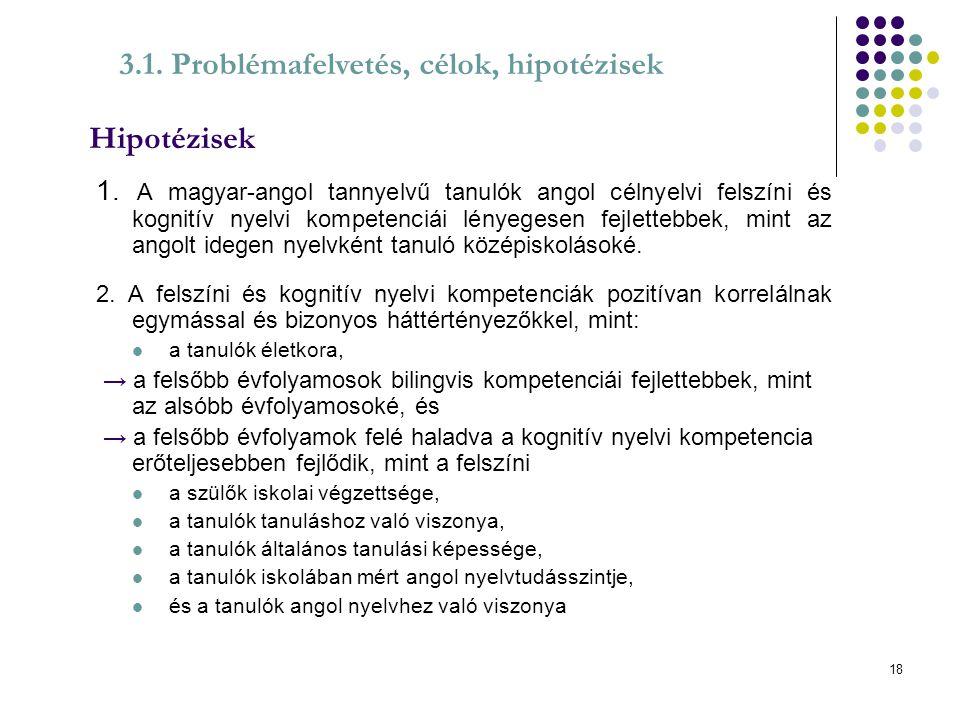 Hipotézisek 3.1. Problémafelvetés, célok, hipotézisek