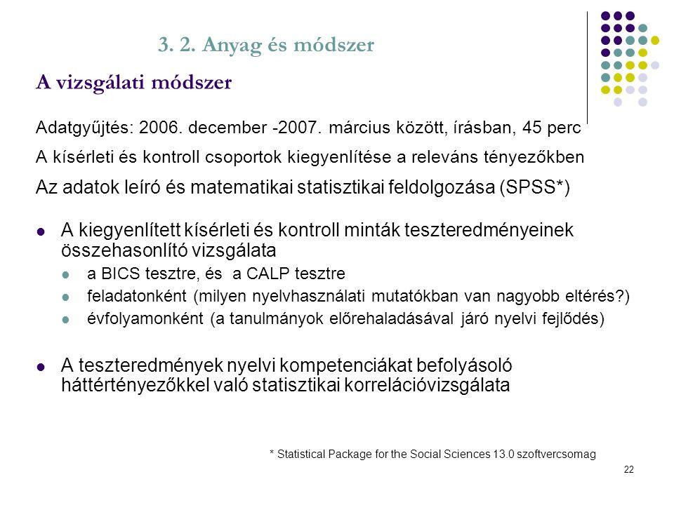 A vizsgálati módszer 3. 2. Anyag és módszer