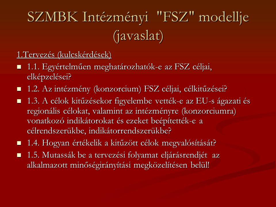 SZMBK Intézményi FSZ modellje (javaslat)