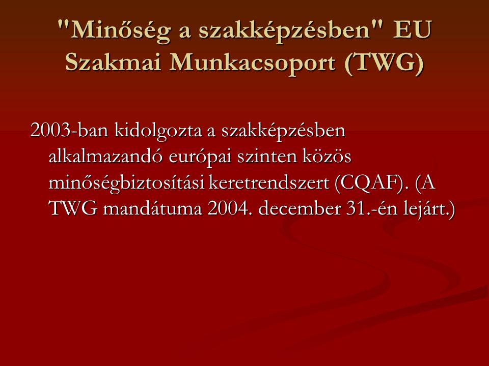 Minőség a szakképzésben EU Szakmai Munkacsoport (TWG)