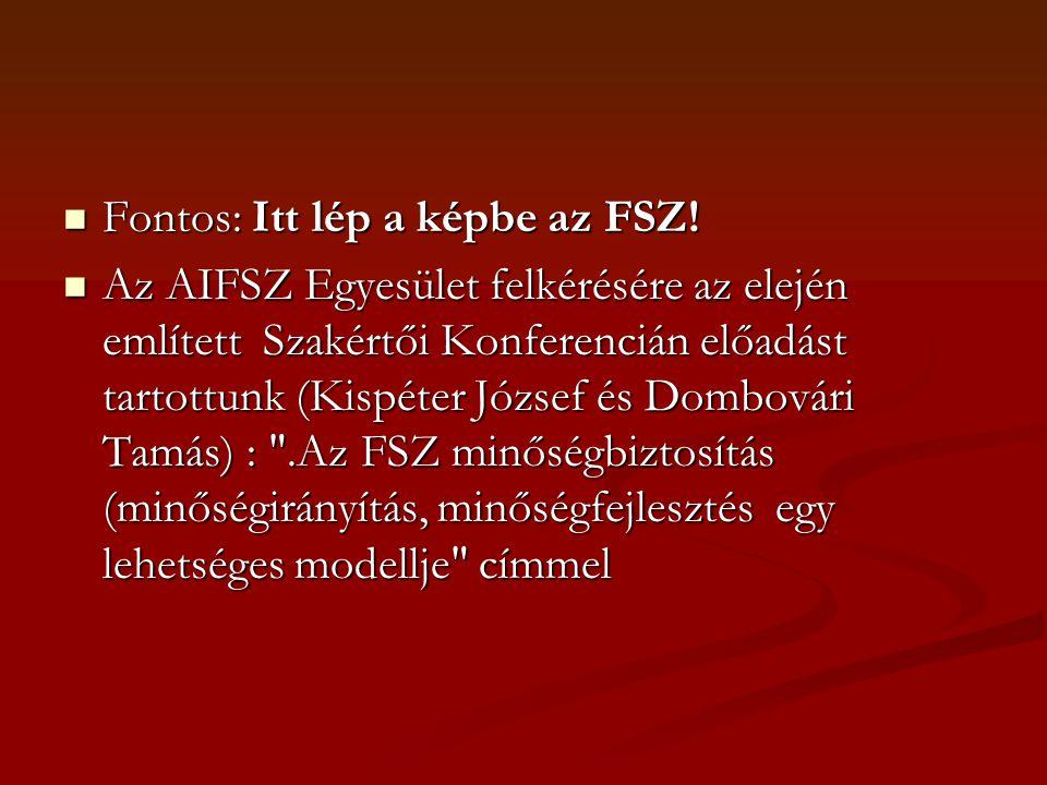 Fontos: Itt lép a képbe az FSZ!