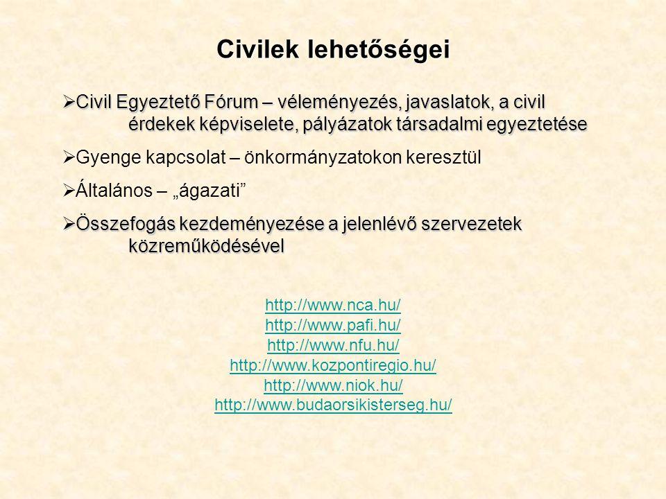 Civilek lehetőségei Civil Egyeztető Fórum – véleményezés, javaslatok, a civil érdekek képviselete, pályázatok társadalmi egyeztetése.