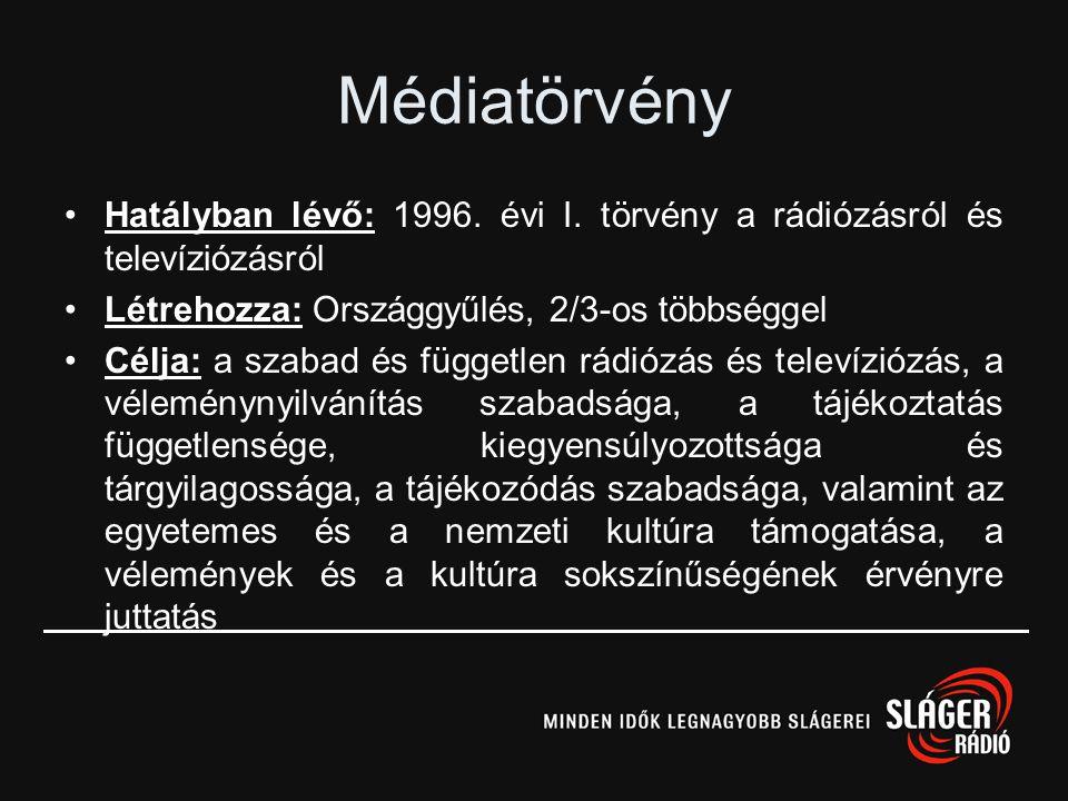 Médiatörvény Hatályban lévő: 1996. évi I. törvény a rádiózásról és televíziózásról. Létrehozza: Országgyűlés, 2/3-os többséggel.