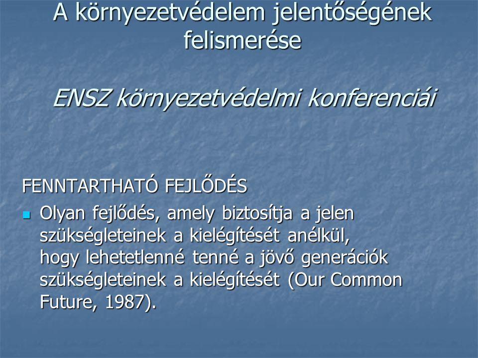 A környezetvédelem jelentőségének felismerése ENSZ környezetvédelmi konferenciái