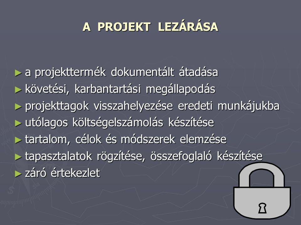 A PROJEKT LEZÁRÁSA a projekttermék dokumentált átadása. követési, karbantartási megállapodás. projekttagok visszahelyezése eredeti munkájukba.