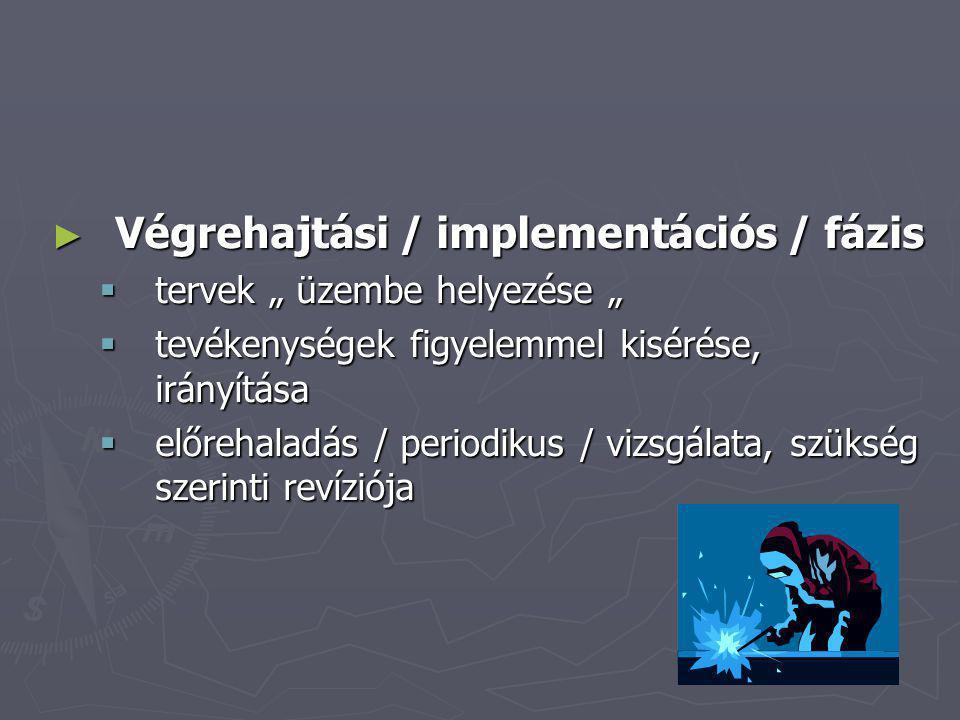 Végrehajtási / implementációs / fázis