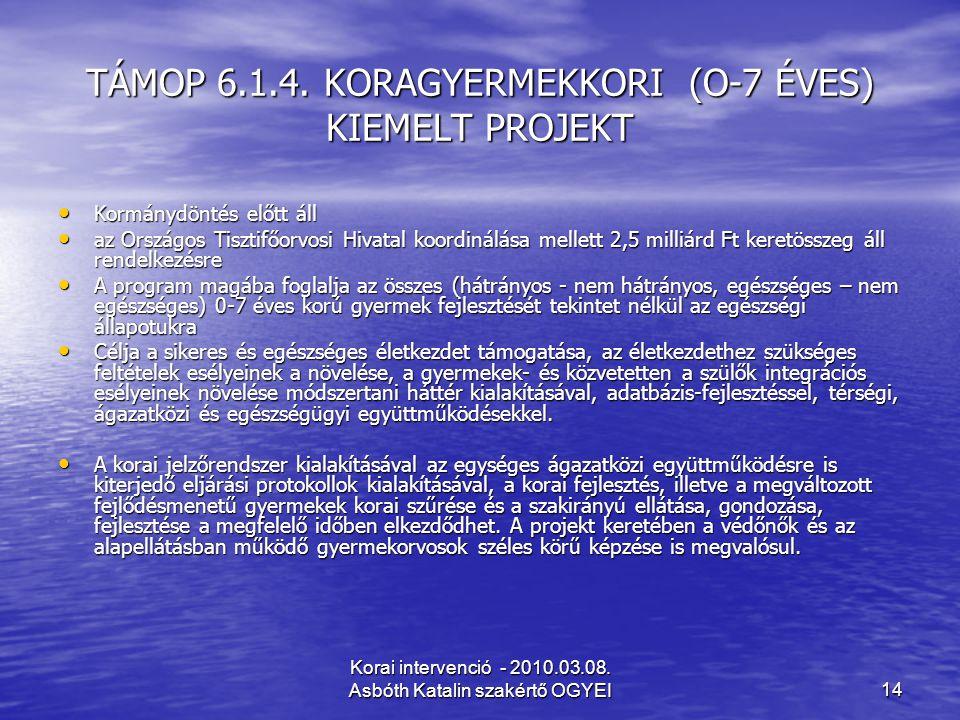 TÁMOP 6.1.4. KORAGYERMEKKORI (O-7 ÉVES) KIEMELT PROJEKT