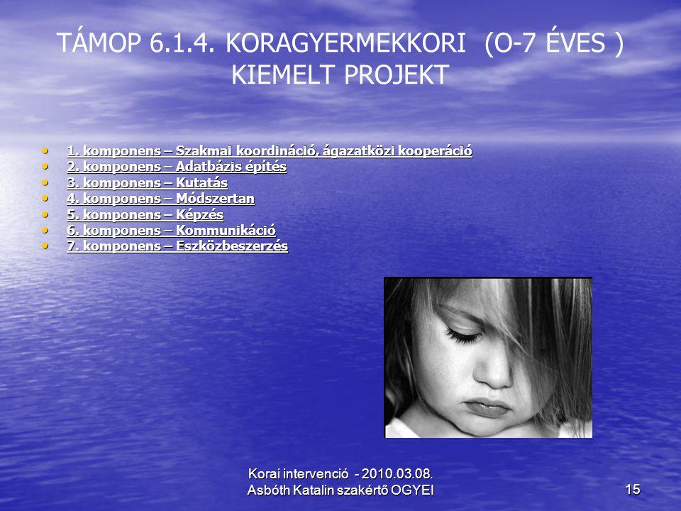 TÁMOP 6.1.4. KORAGYERMEKKORI (O-7 ÉVES ) KIEMELT PROJEKT