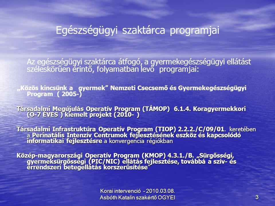 Egészségügyi szaktárca programjai