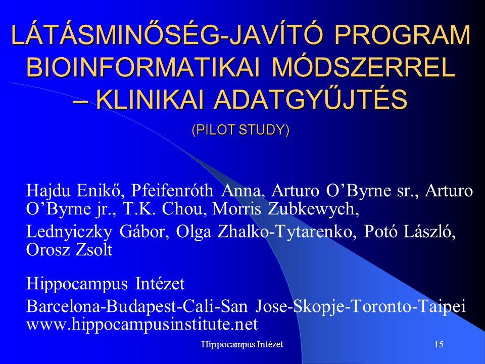 LÁTÁSMINŐSÉG-JAVÍTÓ PROGRAM BIOINFORMATIKAI MÓDSZERREL – KLINIKAI ADATGYŰJTÉS (PILOT STUDY)