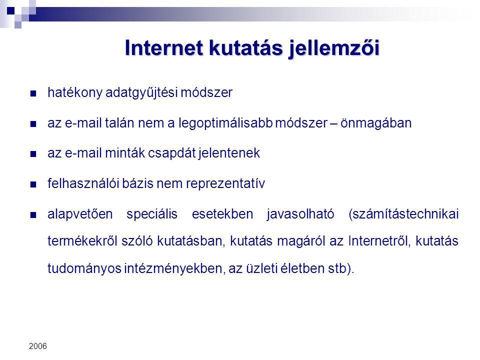 Internet kutatás jellemzői